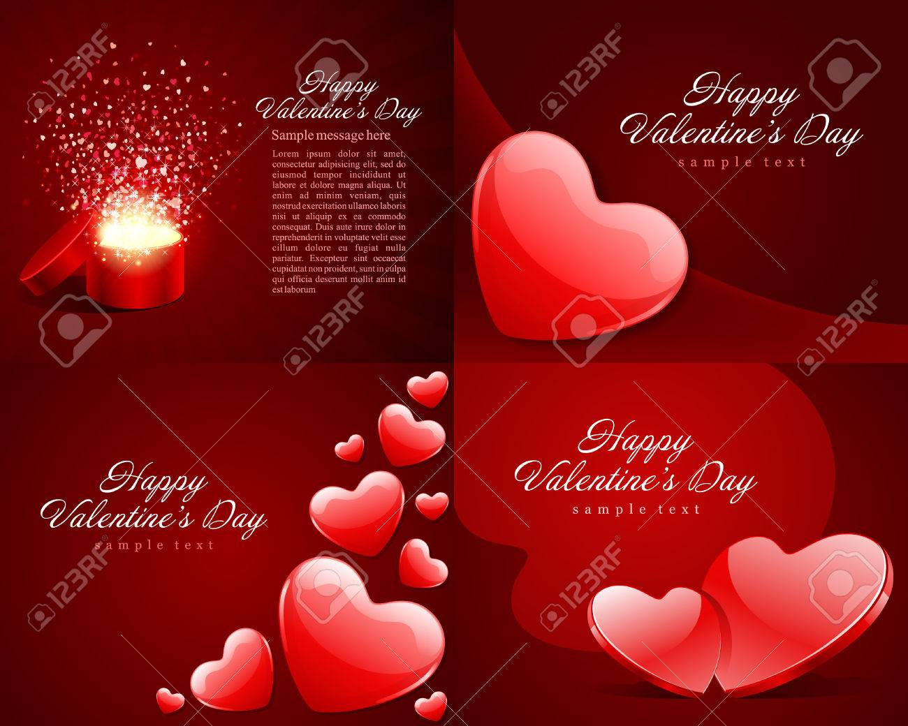Set Happy Valentines Day Greetings Cards Vector Background Design – Valentine Greetings Card