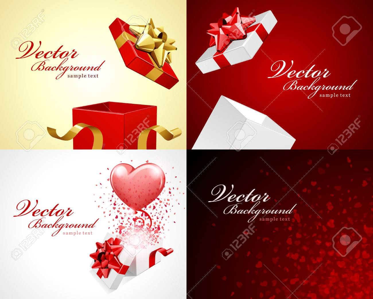 Set Happy Valentines Day Greetings Cards Vector Background Design