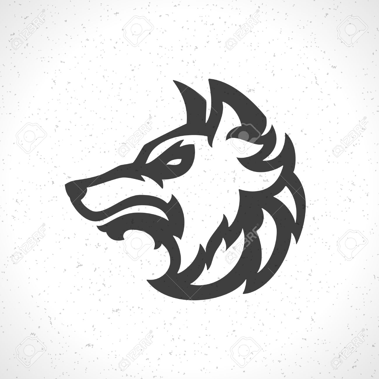 wolf face icon emblem template mascot symbol for business or