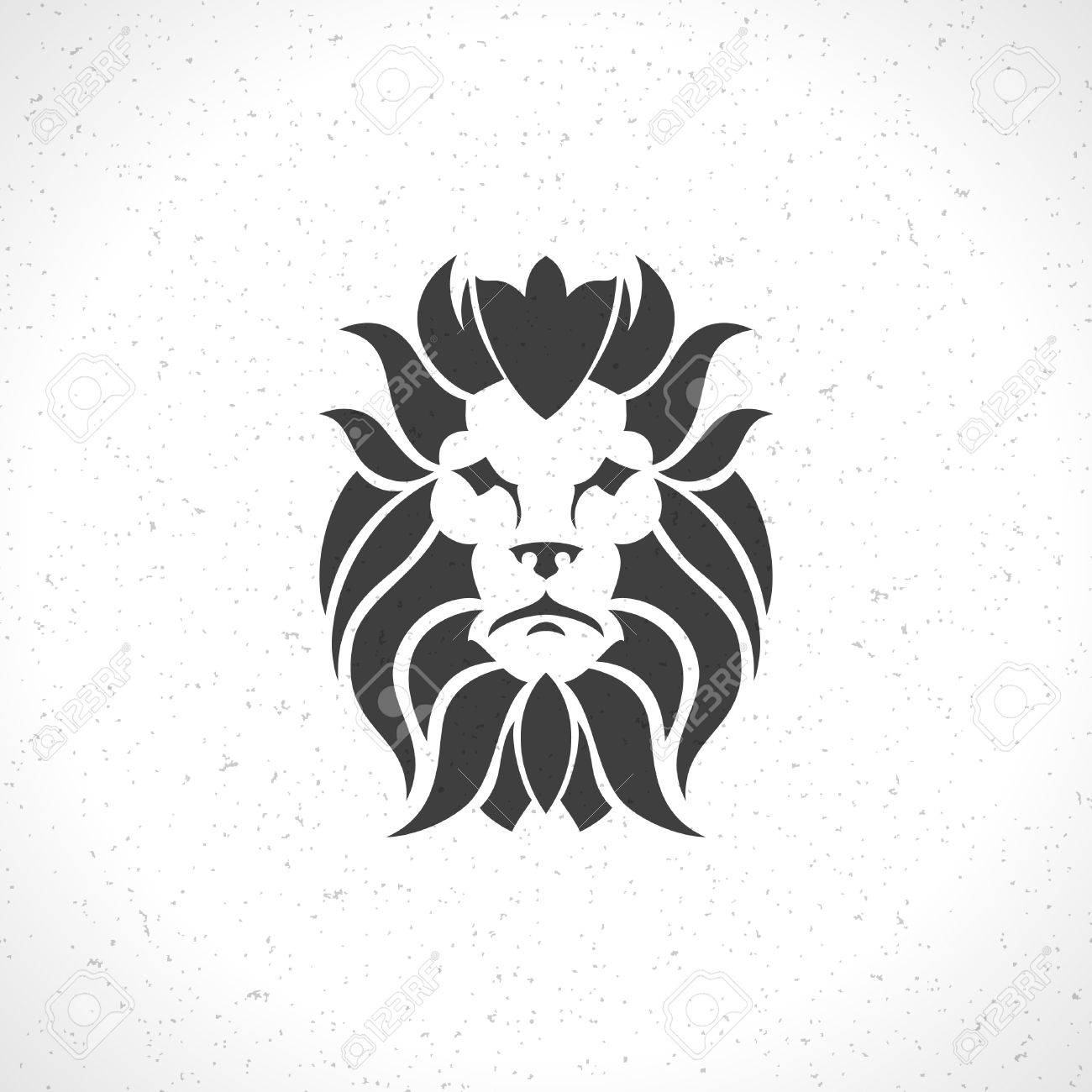 lion face icon emblem template for business or t shirt design