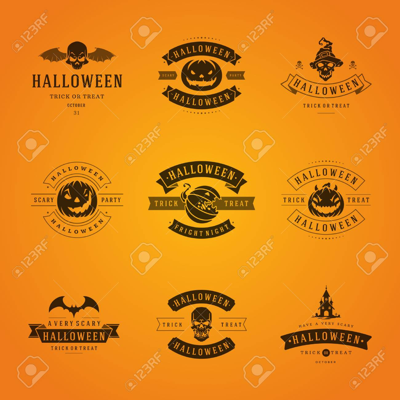 Set vintage happy halloween badges and labels greetings cards set vintage happy halloween badges and labels greetings cards vector design elements stock vector kristyandbryce Images