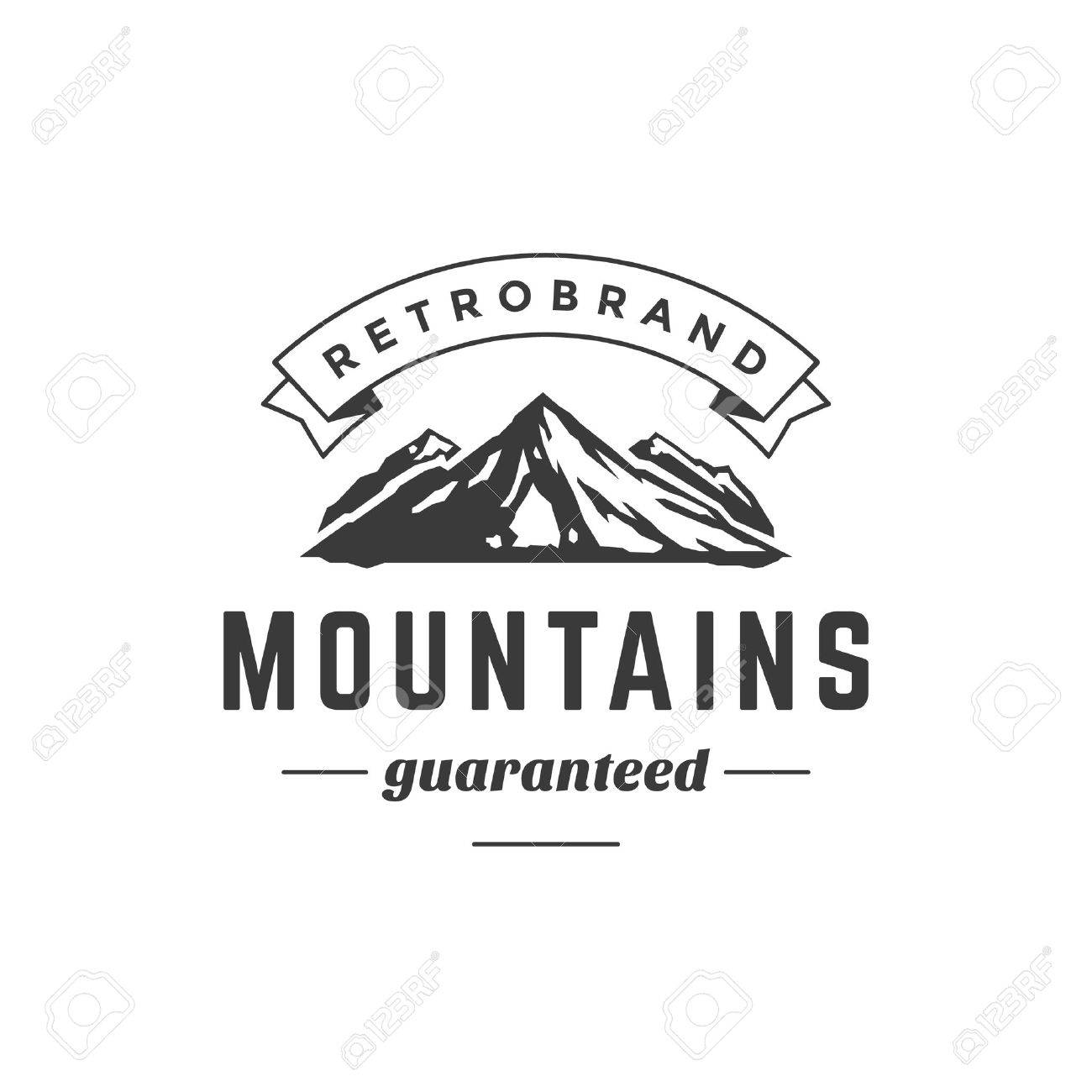 mountain vintage logo template emblem high rock silhouette