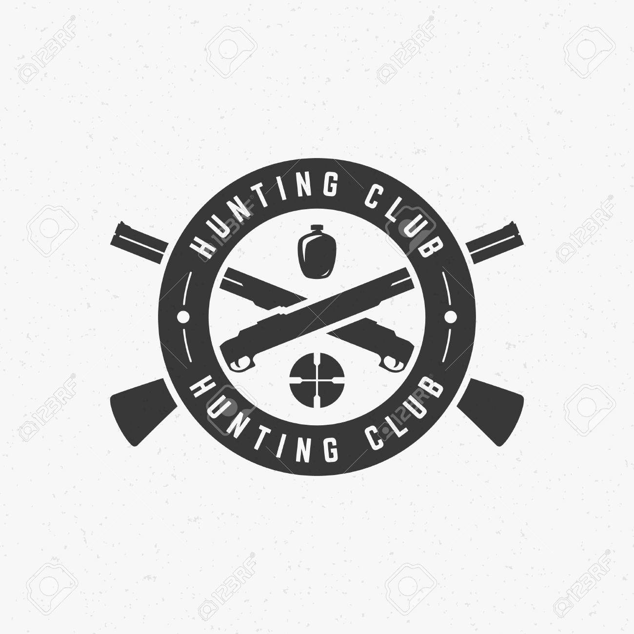 Hunting Club Vintage Logo Template Emblem Cross Guns And Target
