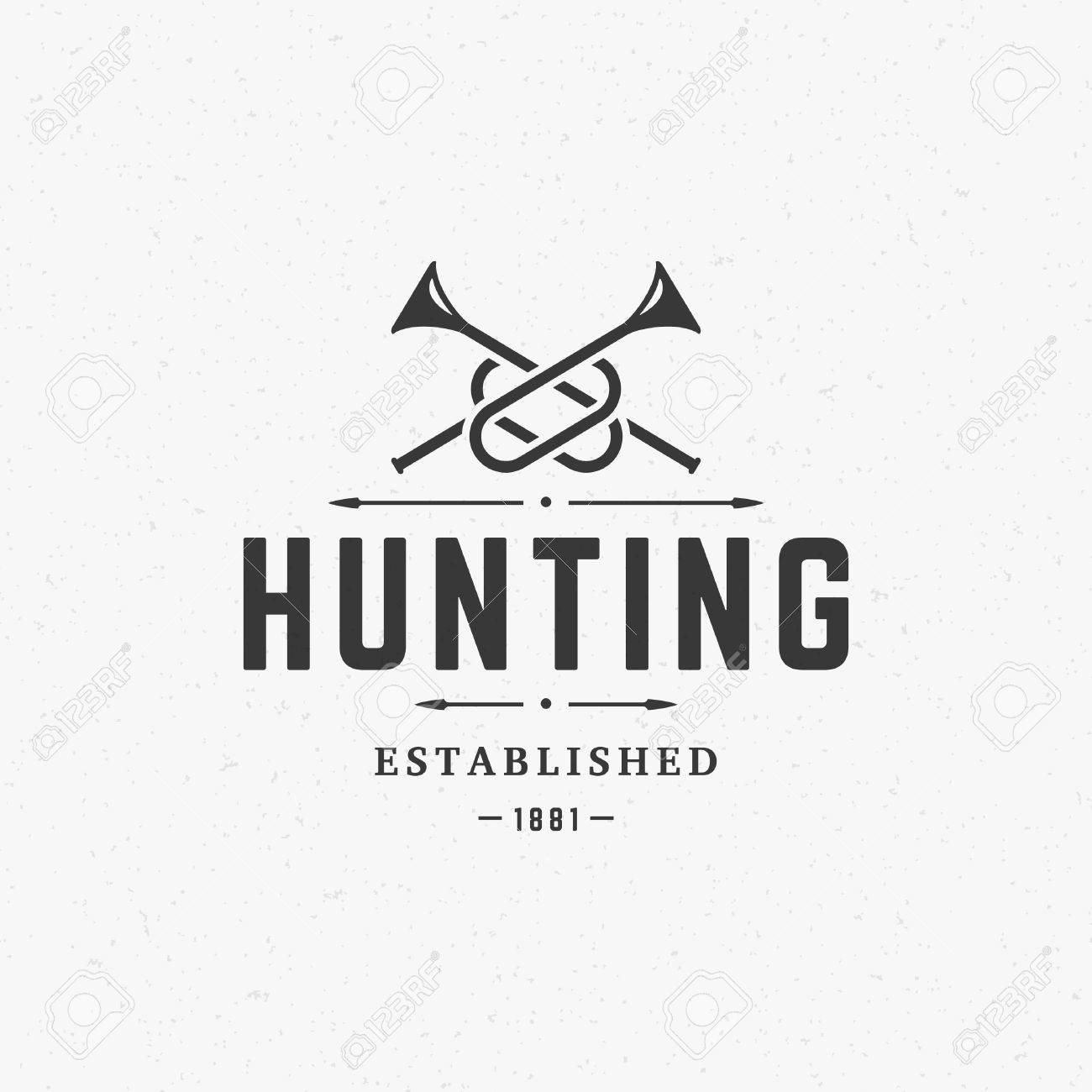 hunting club vintage template emblem cross bugle horns silhouette