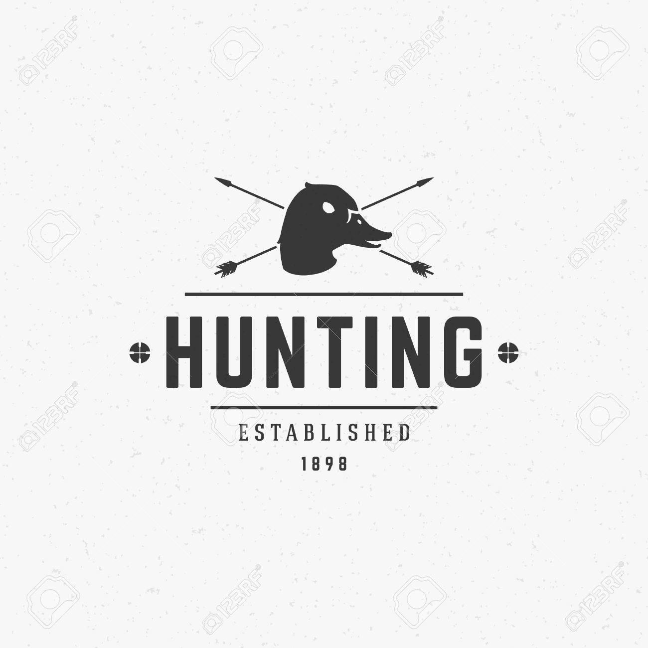 Hunting Club Vintage Template Emblem  Cross Hunting Arrows