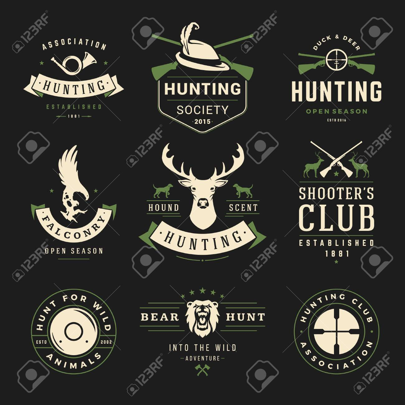 set of hunting and fishing labels badges vector design elements set of hunting and fishing labels badges vector design elements vintage style deer