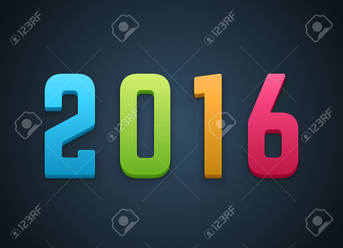 Happy New Year 2016 3d Message Vector Background Royalty Free ...
