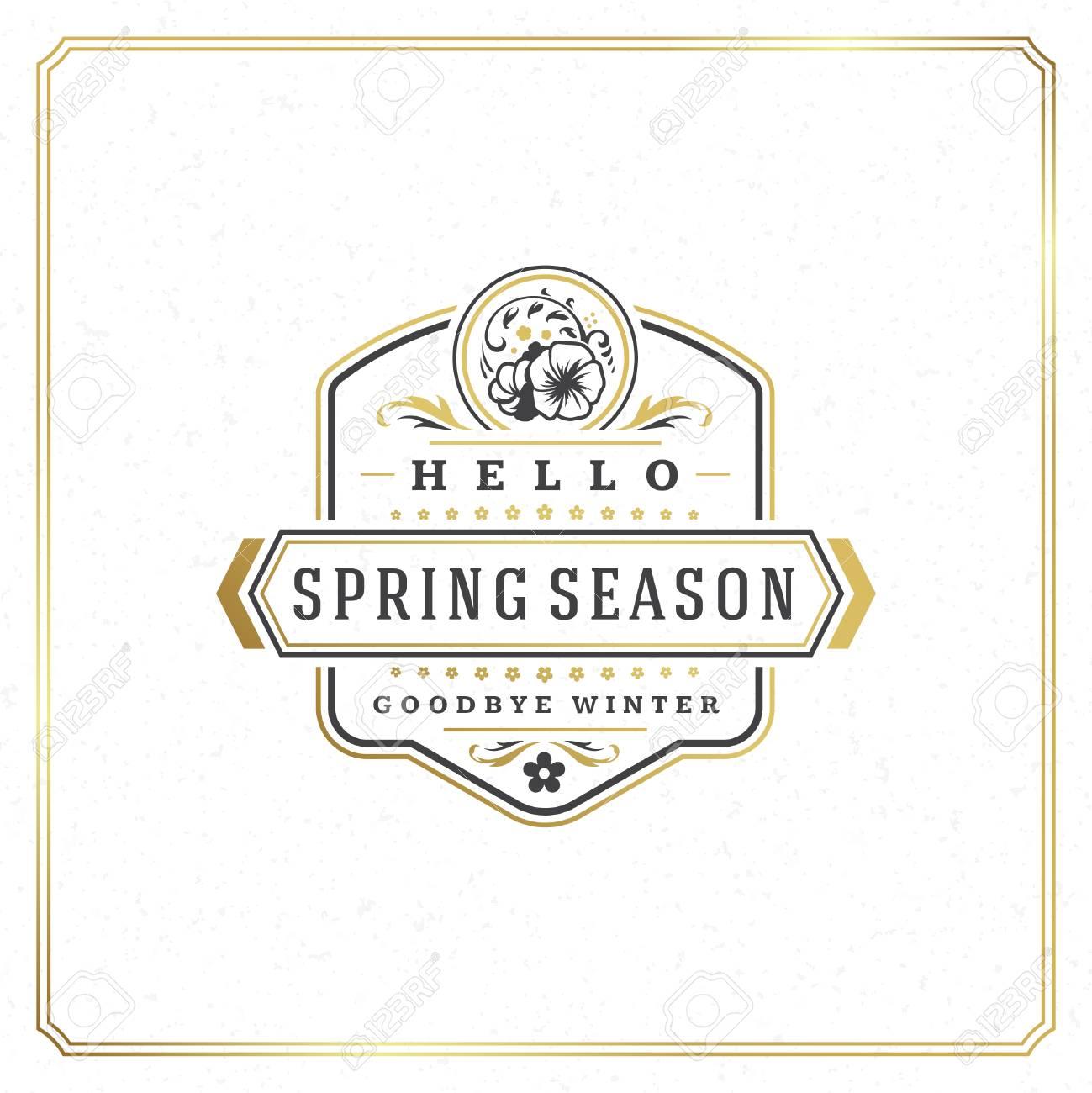 Spring Badge Vector Typographic Design Vintage Greeting Card. Golden  textured. Stock Vector - 73422120