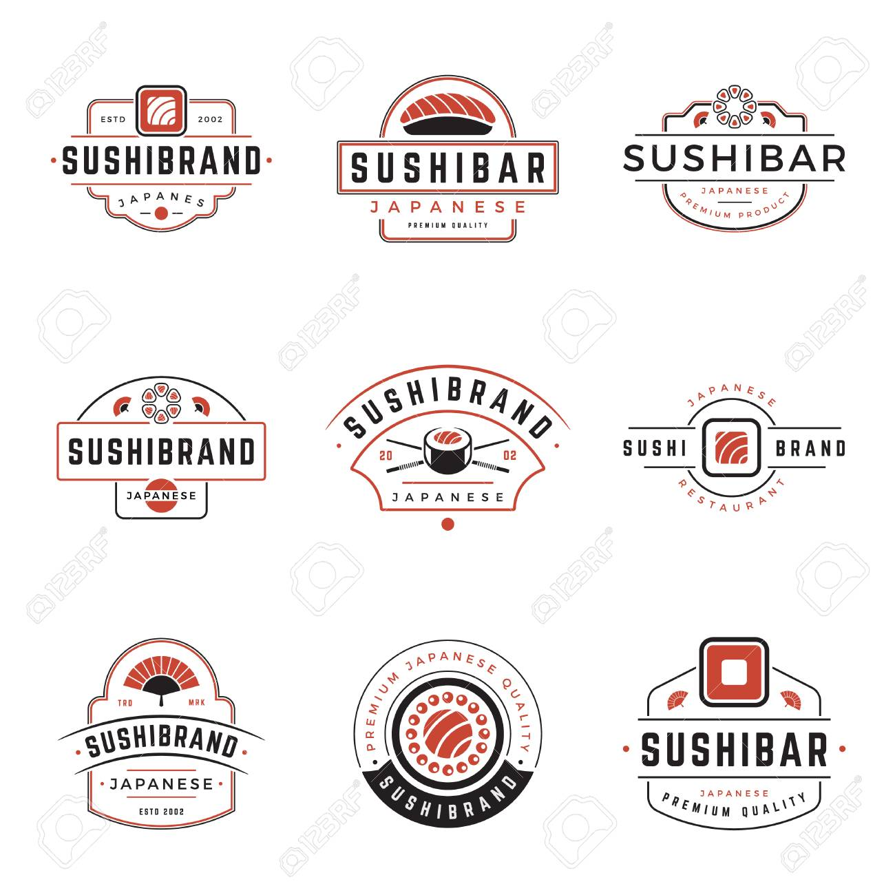 Sushi shop logos templates set vector object and icons for sushi sushi shop logos templates set vector object and icons for sushi labels or badges buycottarizona Image collections