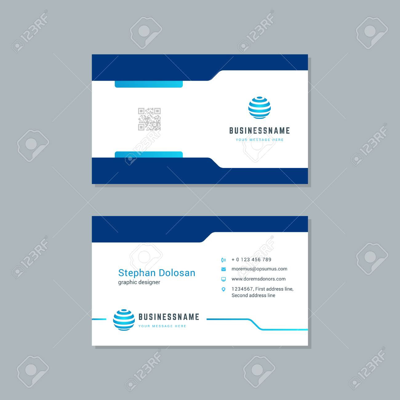 Business card design trendy blue colors template modern corporate business card design trendy blue colors template modern corporate branding style vector illustration two sides colourmoves