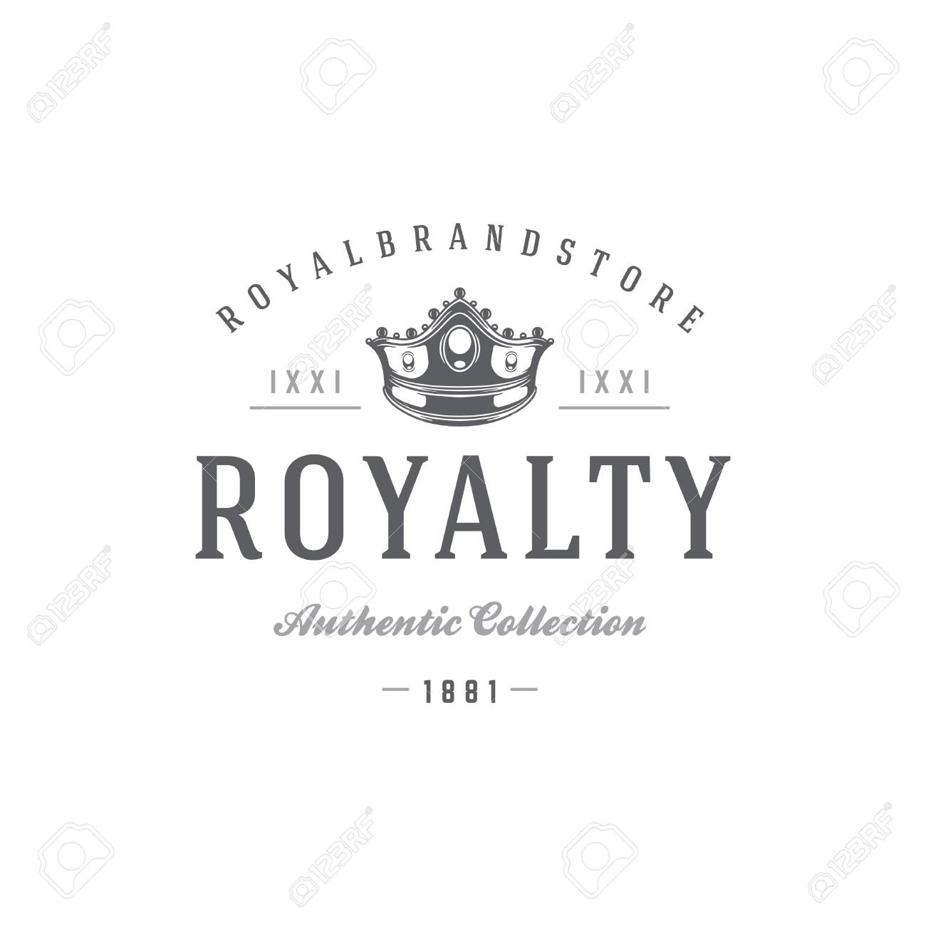 King Crown Logo Template Royal Silhouette Isolated On White Background Vector Object For