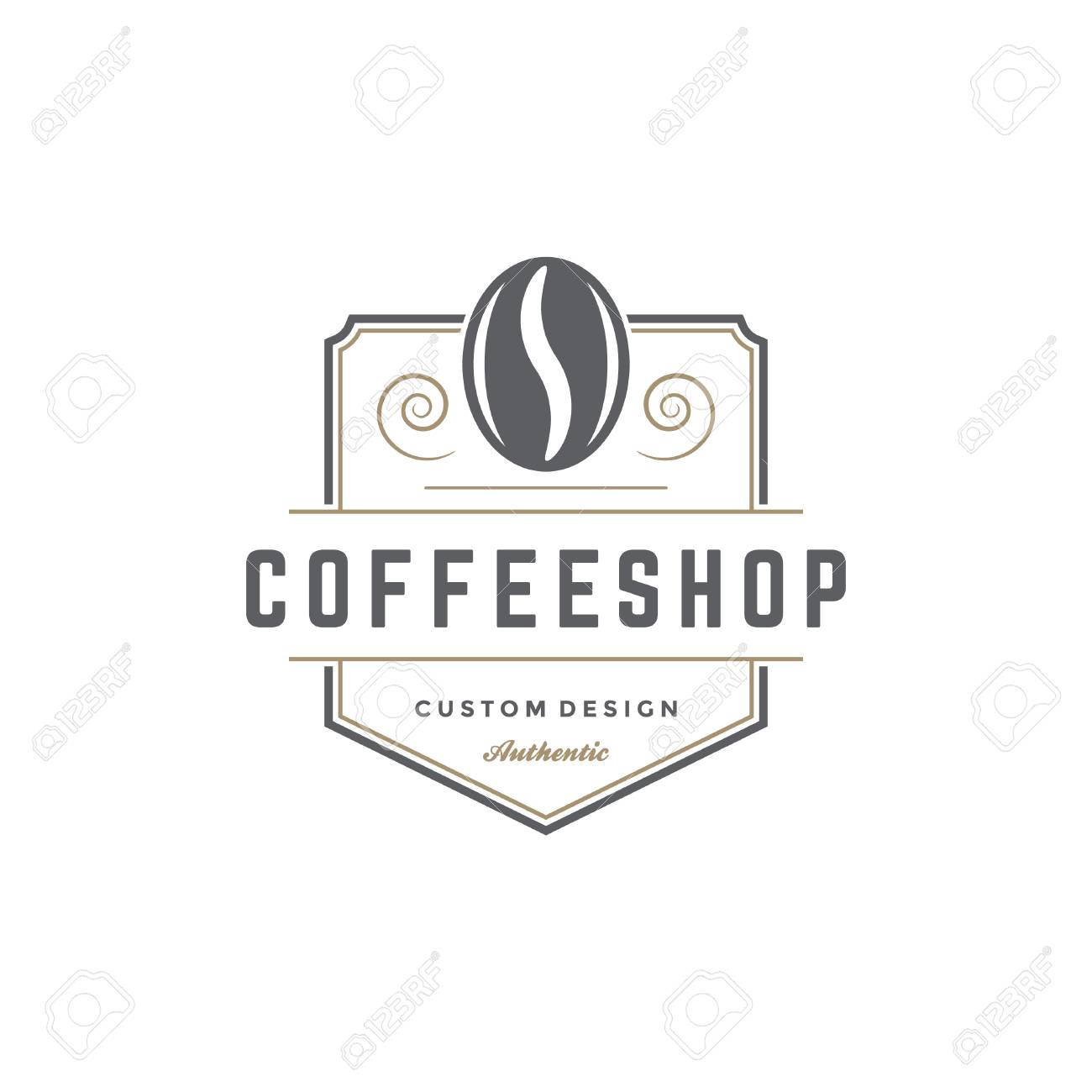 Coffee Shop Logo Template Bean Silhouette Isolated On White