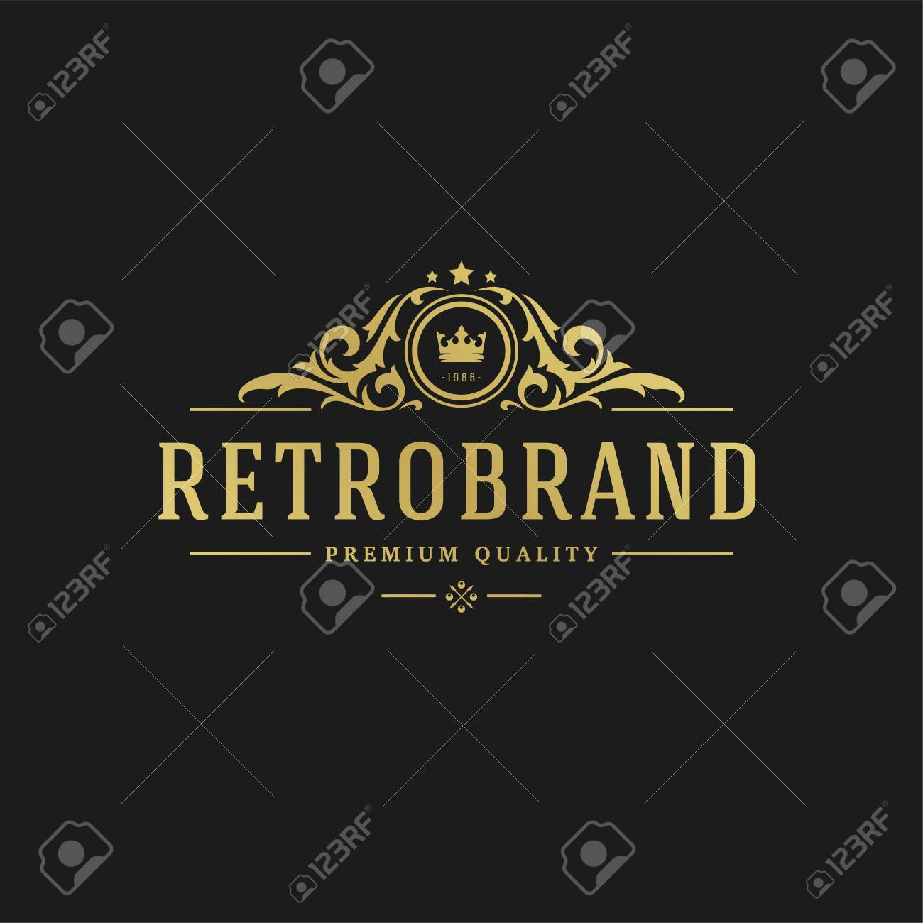 Luxury design template Victorian vignettes royal ornament shapes for logotype or badge design. - 125831333
