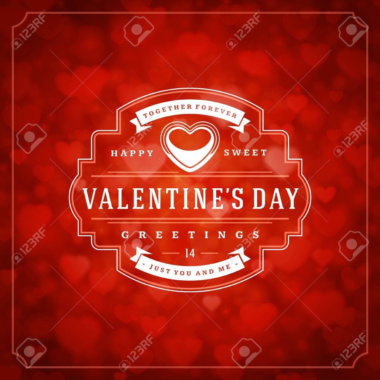 Happy valentines day greeting card and bokeh hearts light vintage typographic wish design vector background. Valentine badge for print or website banner design. - 135429244