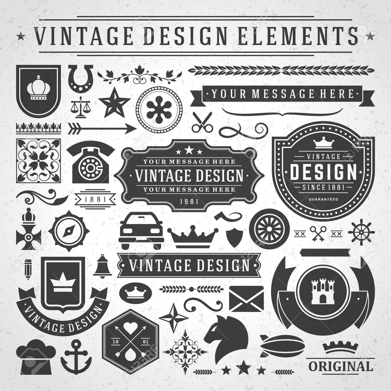 Vintage labels and badges design elements vector with typographic symbols. - 165244986