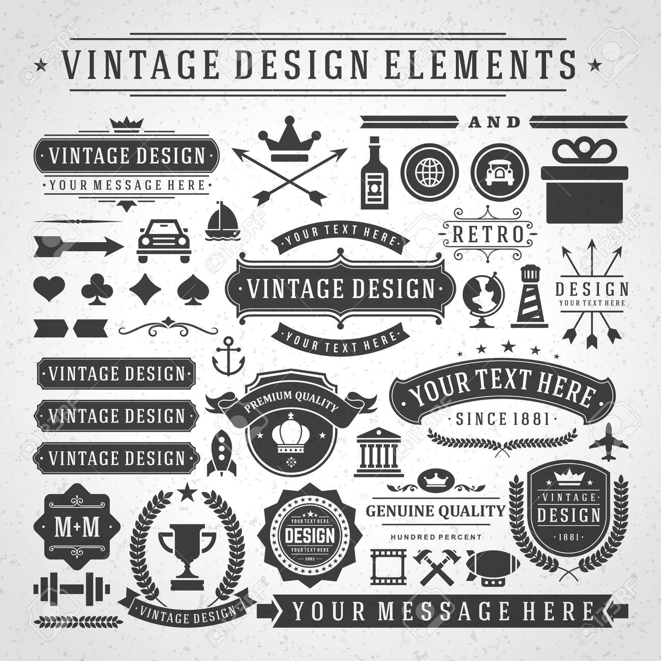 Vintage labels and badges design elements vector with typographic symbols. - 165244988