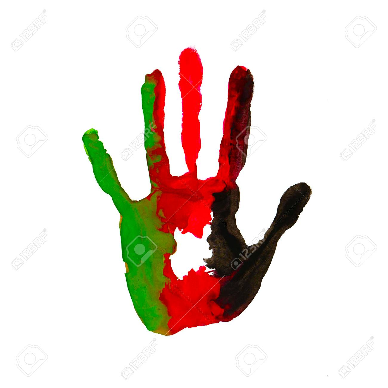 Black Red Green Color Of The Flag Handprint In The Form Of