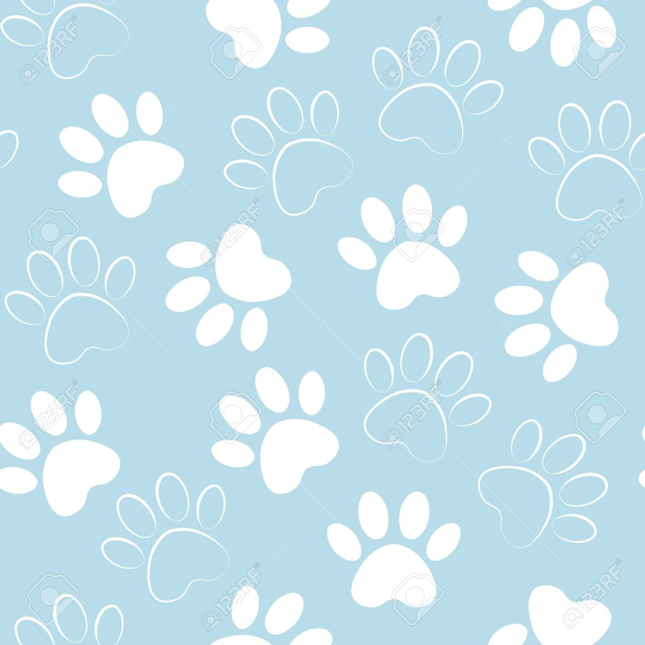 8e76295beea8 backdrop with silhouettes of cat or dog footprint. Vector illustration  animal paw track pattern.