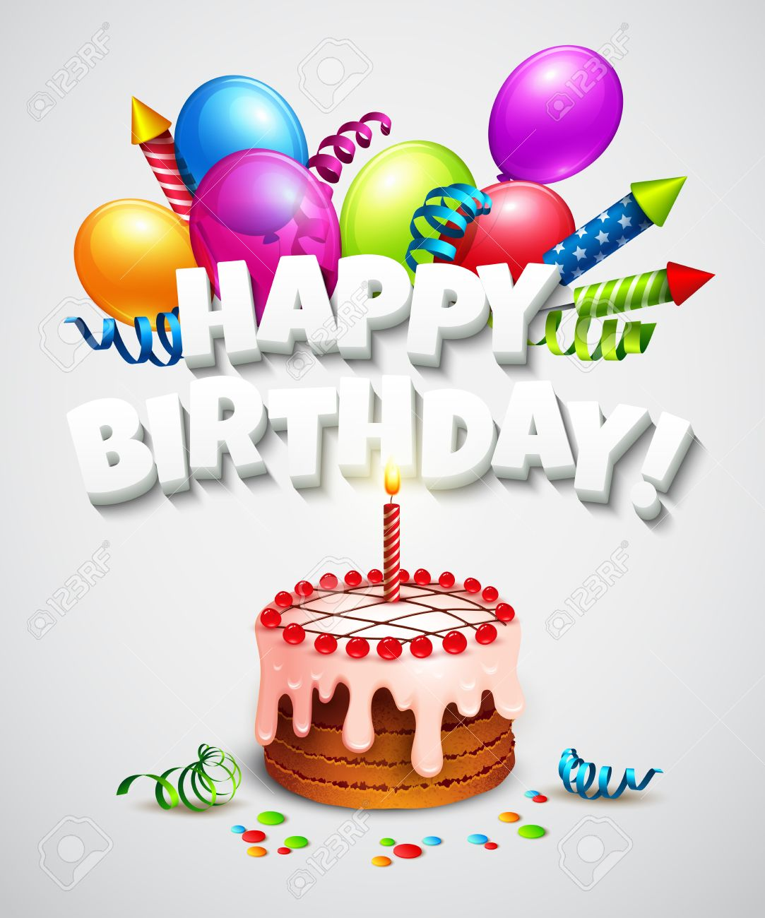 Happy Birthday Greeting Card With Cake And Balloons Vector Illustration Stock