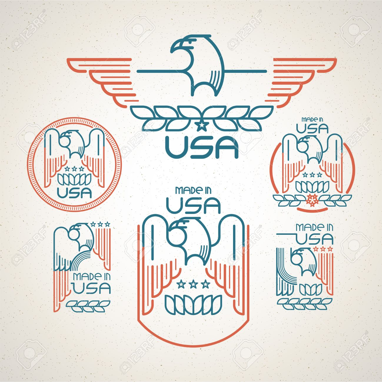 Made in the usa symbol with american flag and eagle set of made in the usa symbol with american flag and eagle set of templates emblems vector buycottarizona