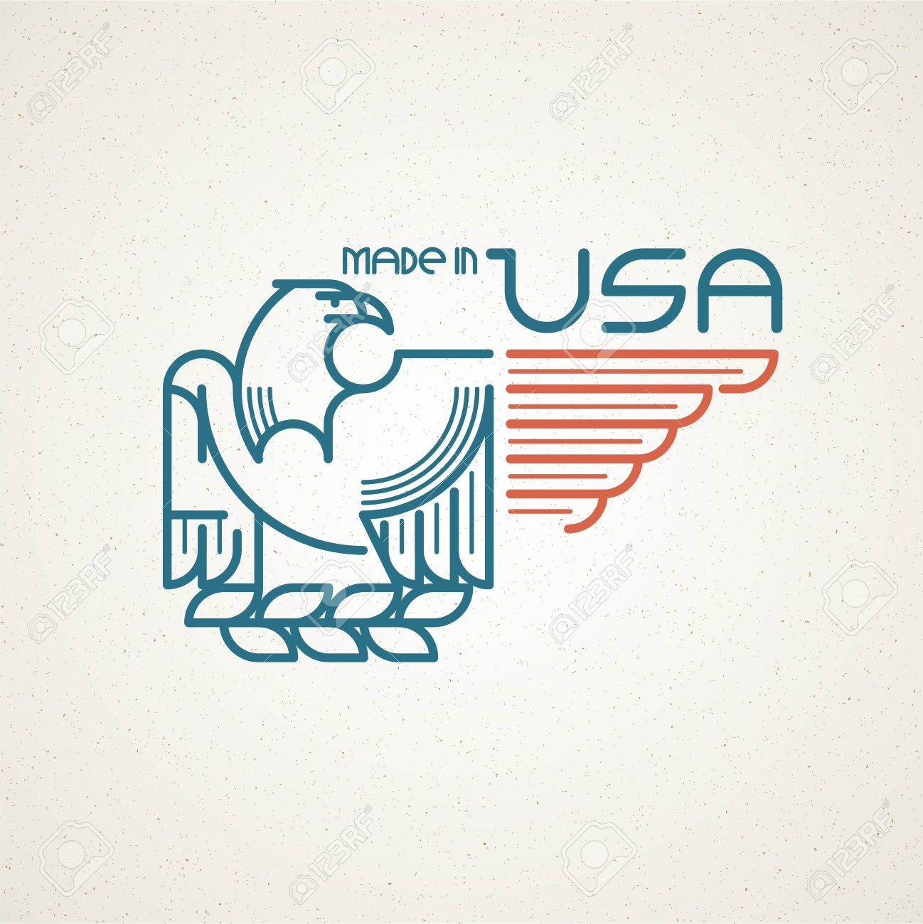 Made in the usa symbol with american flag and eagle templates made in the usa symbol with american flag and eagle templates emblems vector illustration eps buycottarizona
