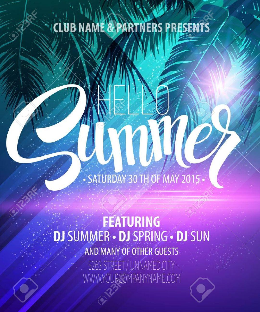 hello summer beach party flyer vector design royalty free cliparts