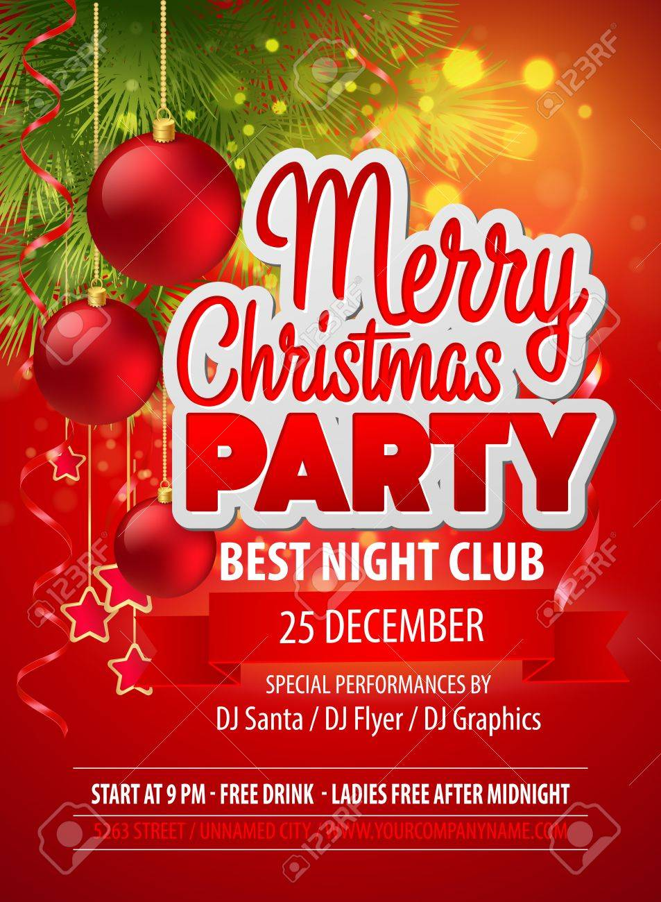 Flyer Noel Christmas Party Flyer Royalty Free Cliparts, Vectors, And Stock