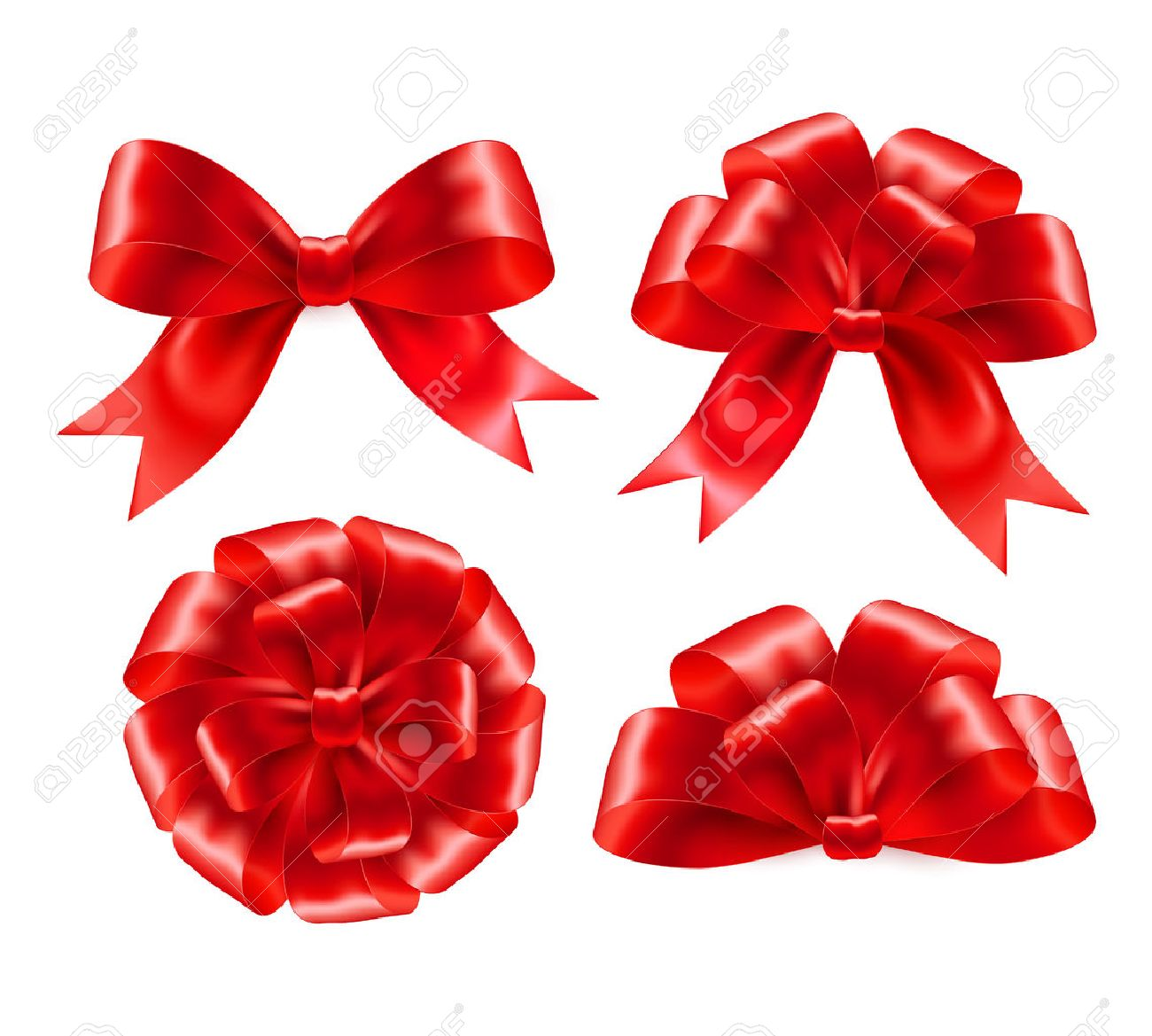 Red gift bows border with clipping path for easy background removing - Ribbon Set Of Red Gift Bows With Ribbons Vector Illustration Eps 10