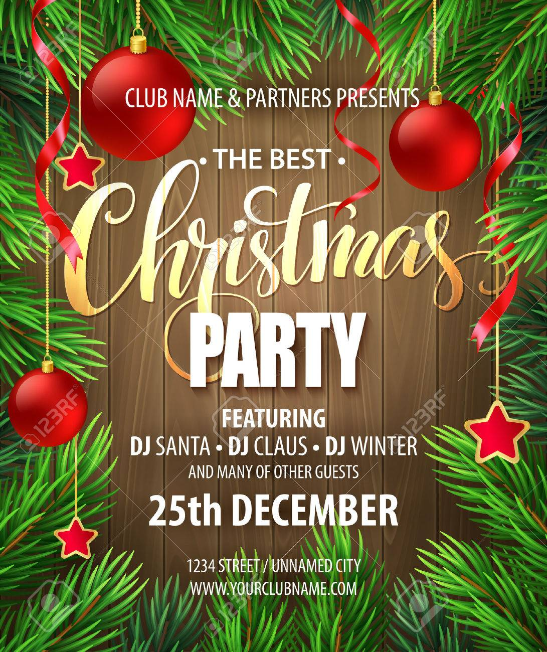 christmas party poster design template vector illustration eps christmas party poster design template vector illustration eps10 stock vector 48536948