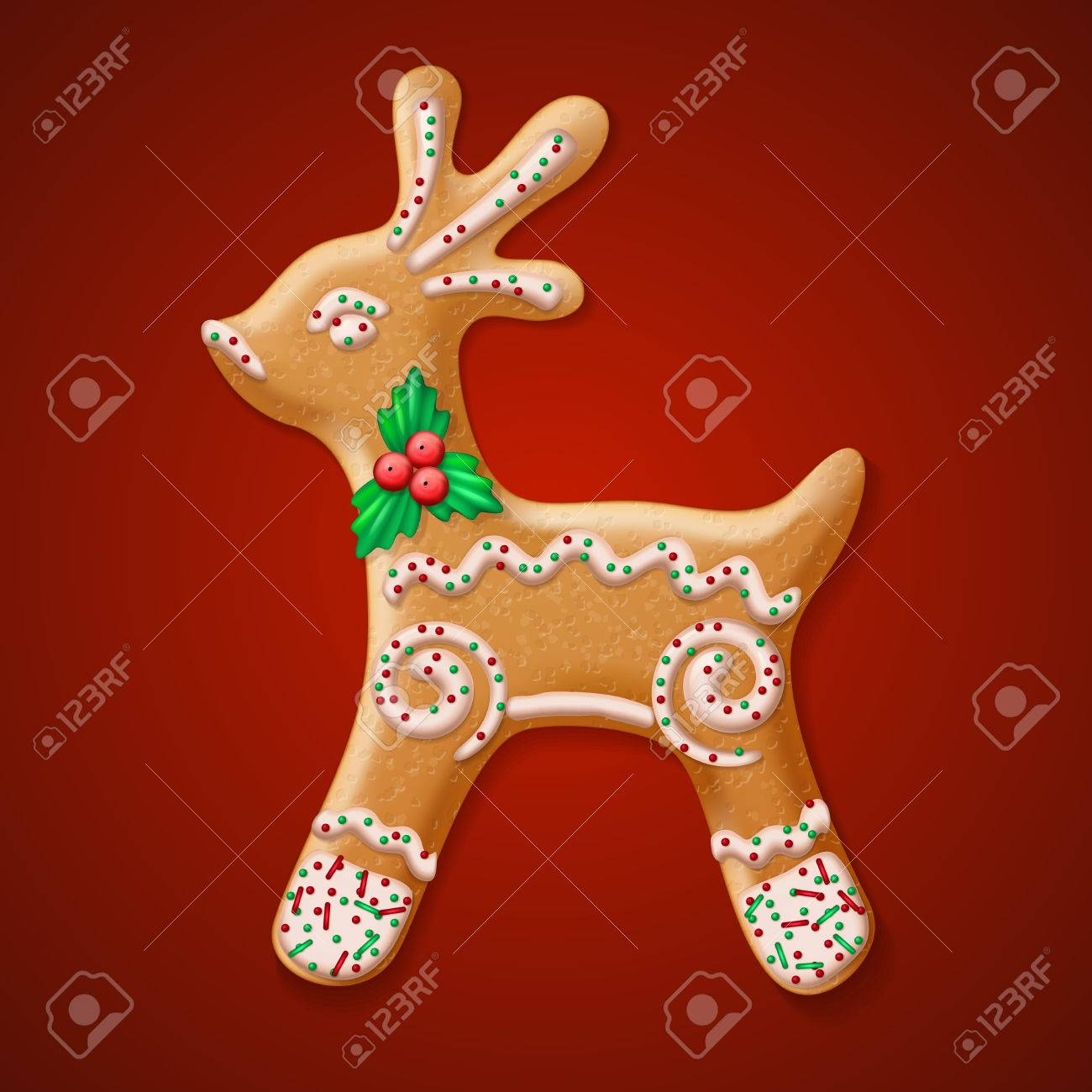 Ornate Realistic Vector Traditional Christmas Gingerbread Reindeer