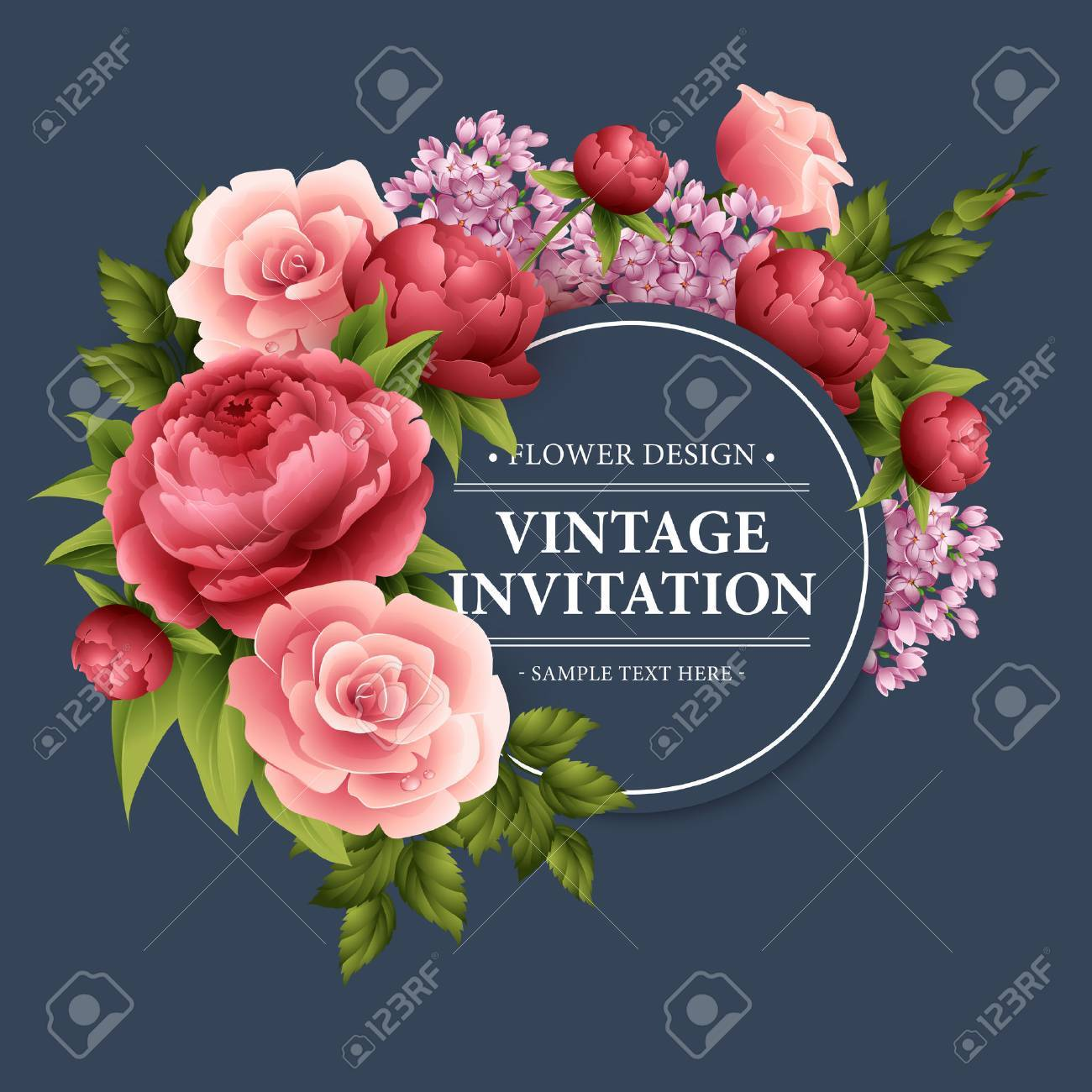 Vintage Greeting Card With Blooming Flowers. Royalty Free Cliparts ...