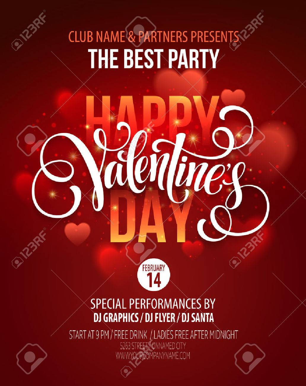 Valentines Day Party Poster Design. - 50353553