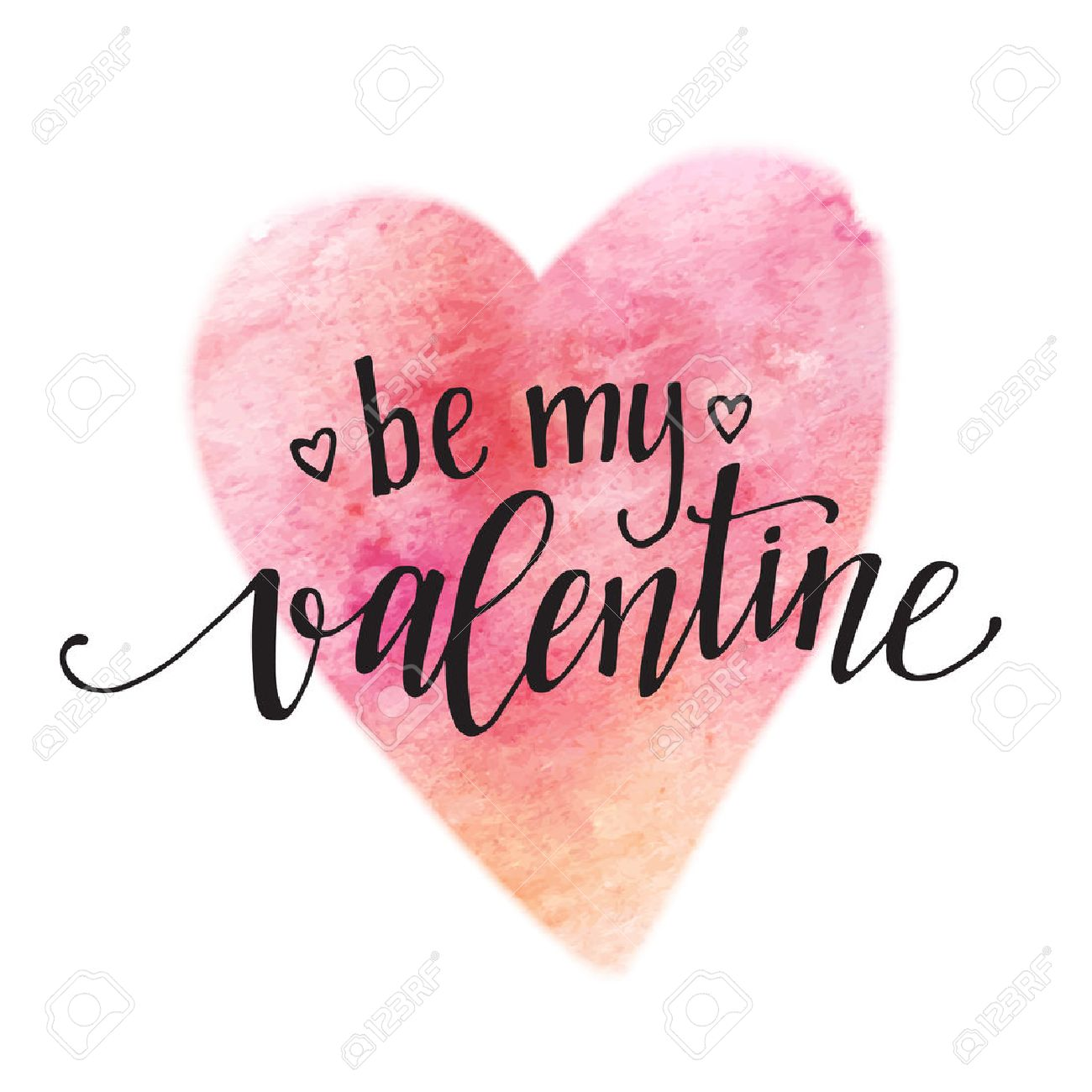Watercolor Valentines Day Card lettering Be my Valentine in pink watercolor background. - 50354083