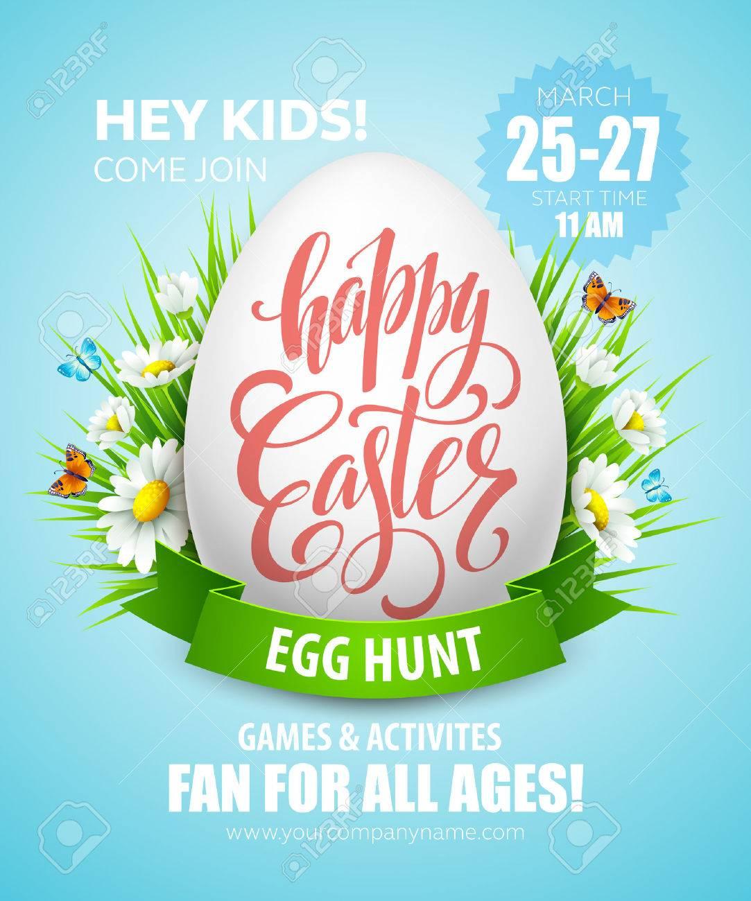 Easter Egg Hunt poster. Vector illustration EPS10 - 52029006