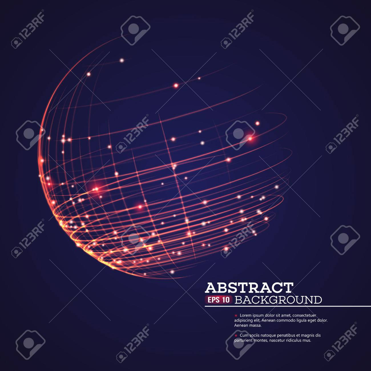 Point and curve constructed the sphere wireframe, technological sense abstract background. Vector illustration EPS10 - 52434450
