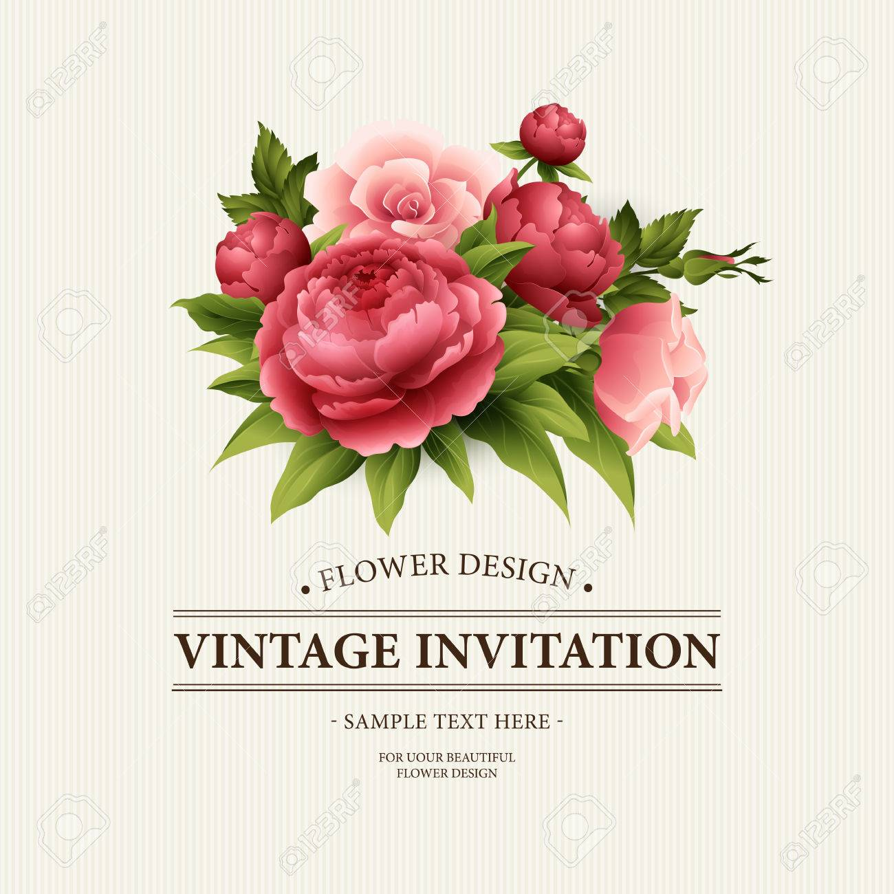 Vintage greeting card with blooming peony and rose flowers vector vintage greeting card with blooming peony and rose flowers vector illustration eps10 m4hsunfo