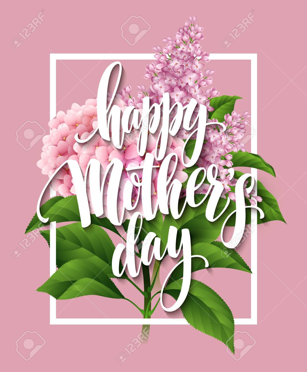 Happy Mothers Day Lettering card. Greetimng card with flower. Vector illustration EPS 10 - 53927081