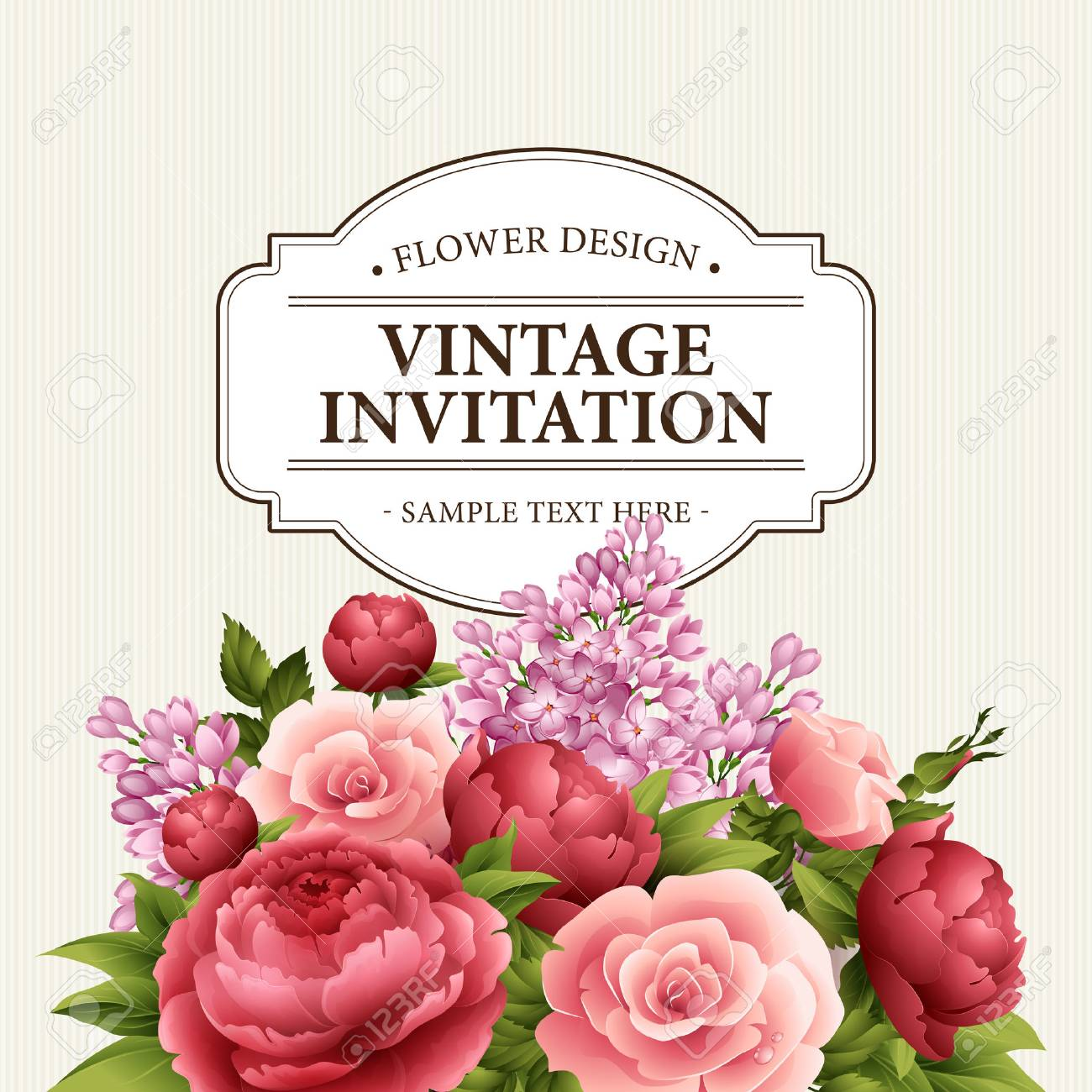Floral frame with flowers. Floral bouquet with peony, rose and lilac. Vintage Greeting Card with flowers. Watercolor flourish border. Floral background. Vector illustration EPS10 - 53927096