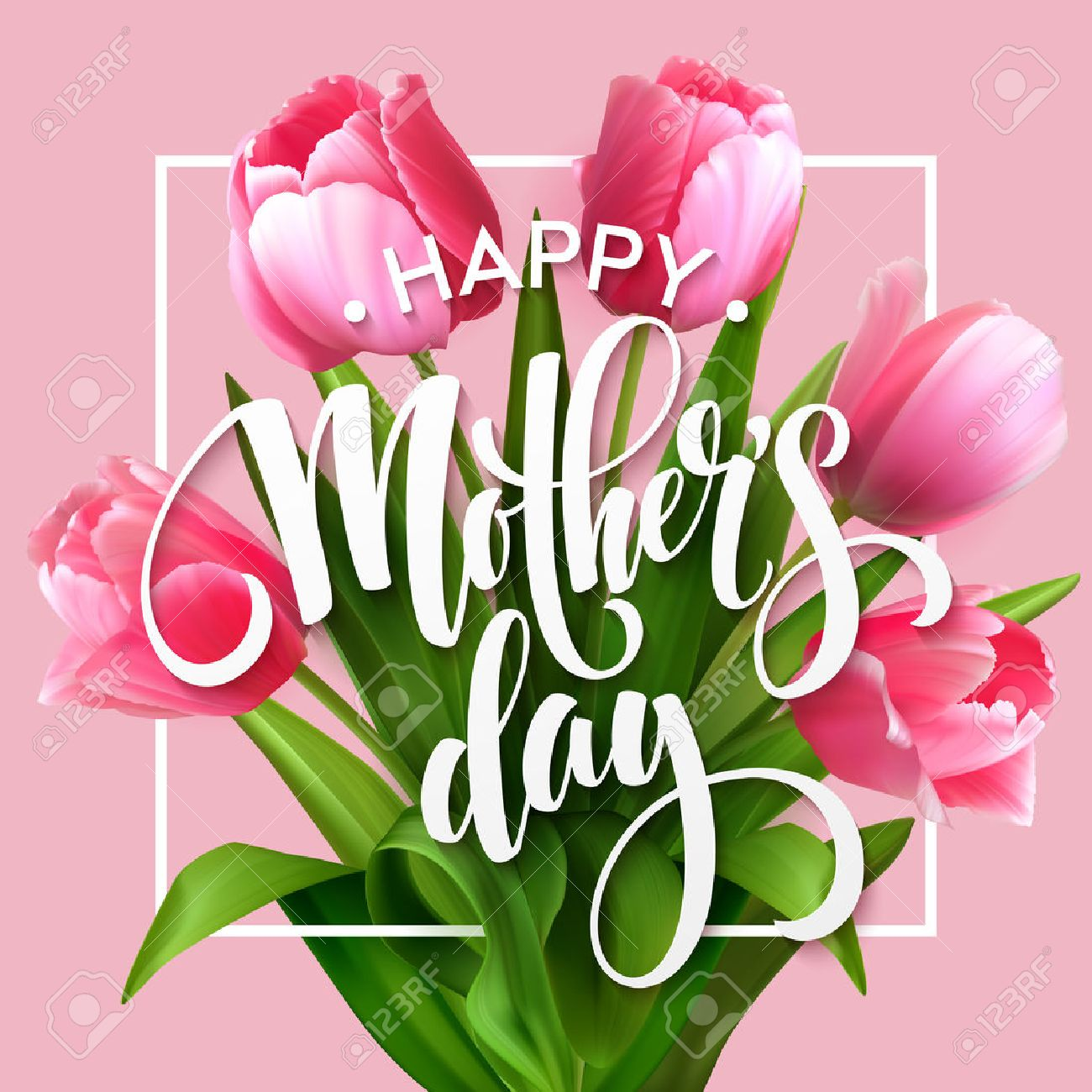 Happy mothers day lettering mothers day greeting card with happy mothers day lettering mothers day greeting card with blooming tulip flowers vector illustration kristyandbryce Image collections