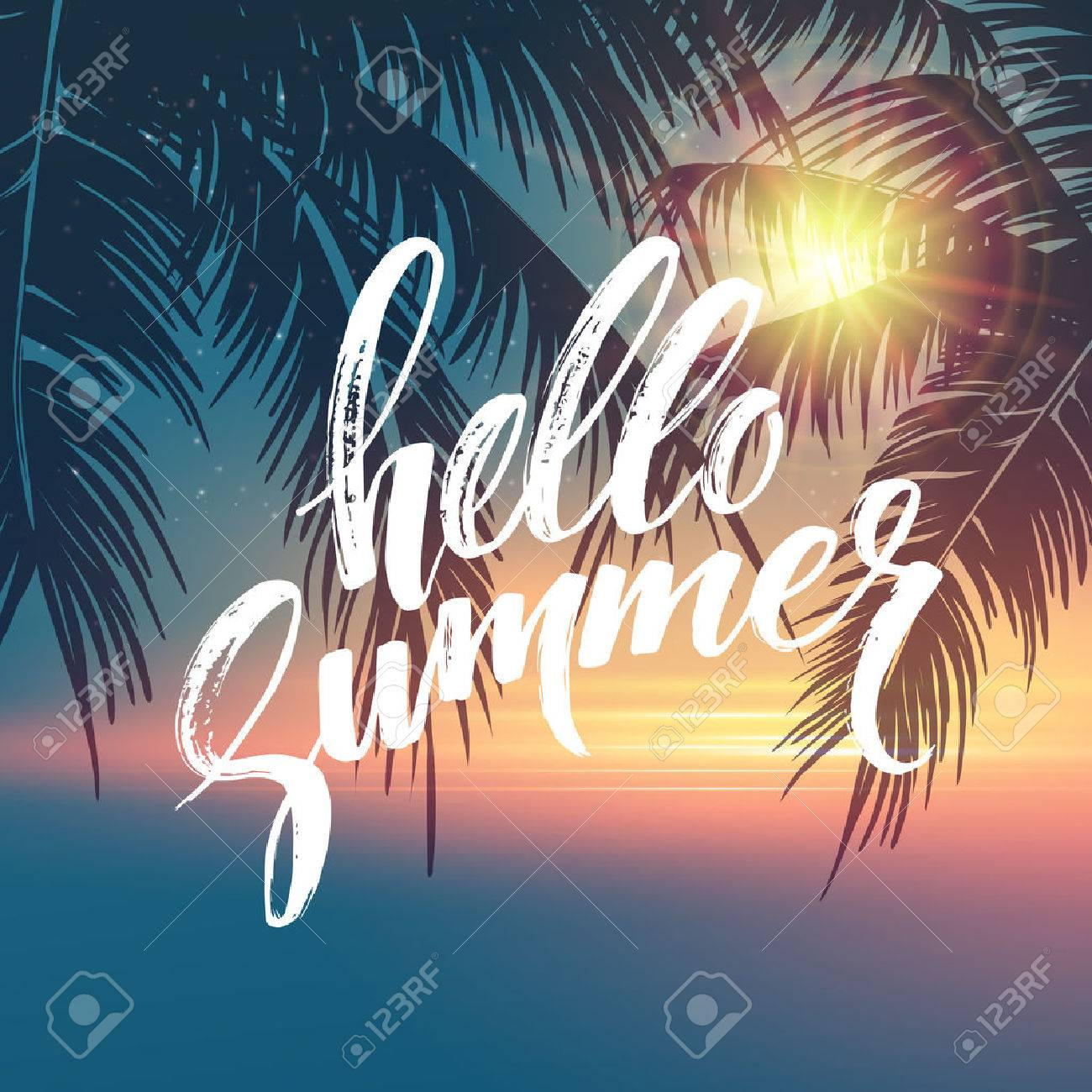 Hello summer background. Tropical palm leaves pattern, handwriting lettering. Palm Tree branches. Tropic paradise backdrop. Vector illustration EPS10 - 54269232