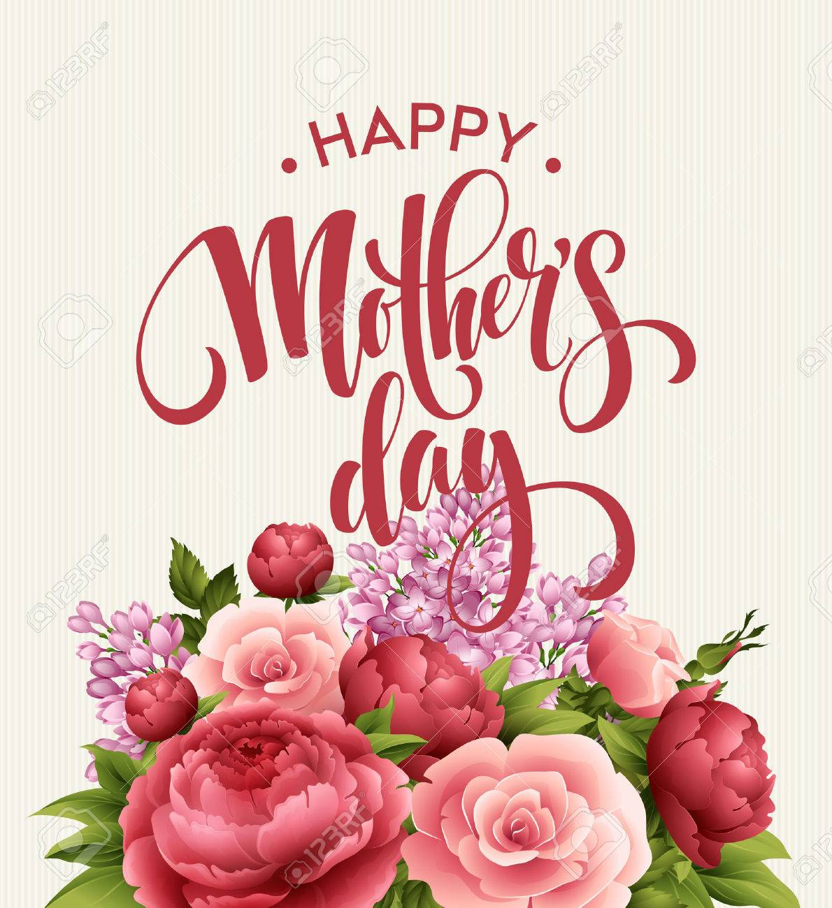 Happy Mothers Day Lettering card. Greetimng card with flower. Vector illustration EPS 10 - 54269405