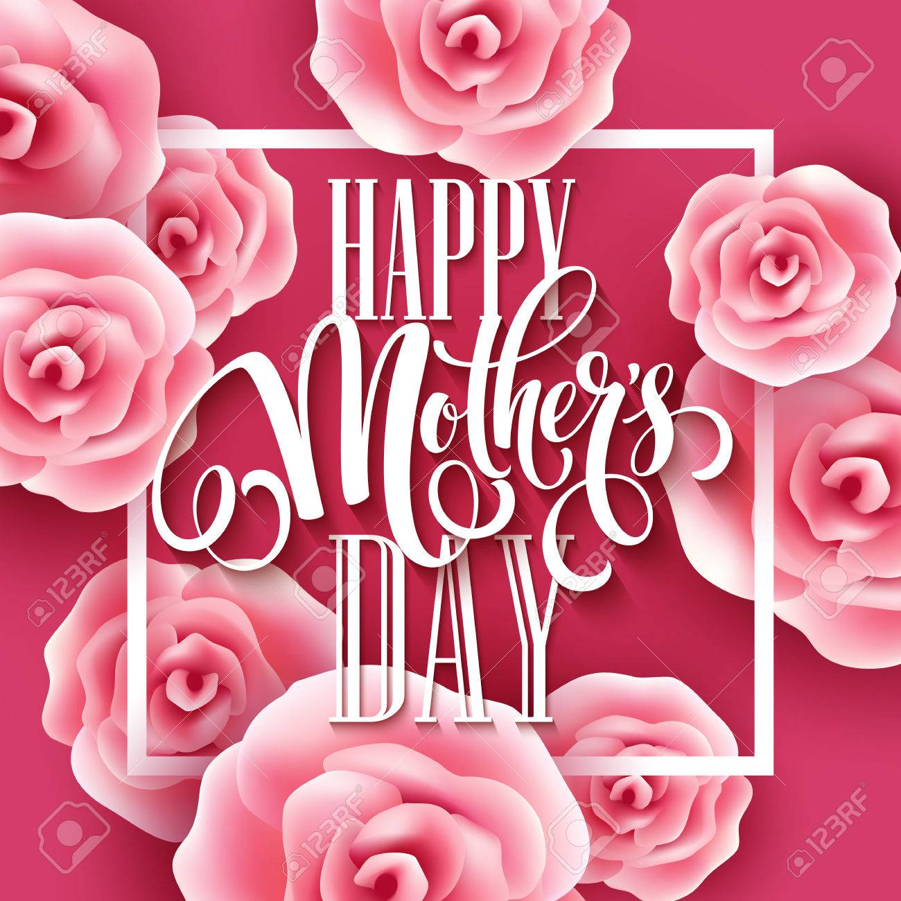 Happy mothers day lettering mothers day greeting card with happy mothers day lettering mothers day greeting card with blooming pink rose flowers vector kristyandbryce Image collections