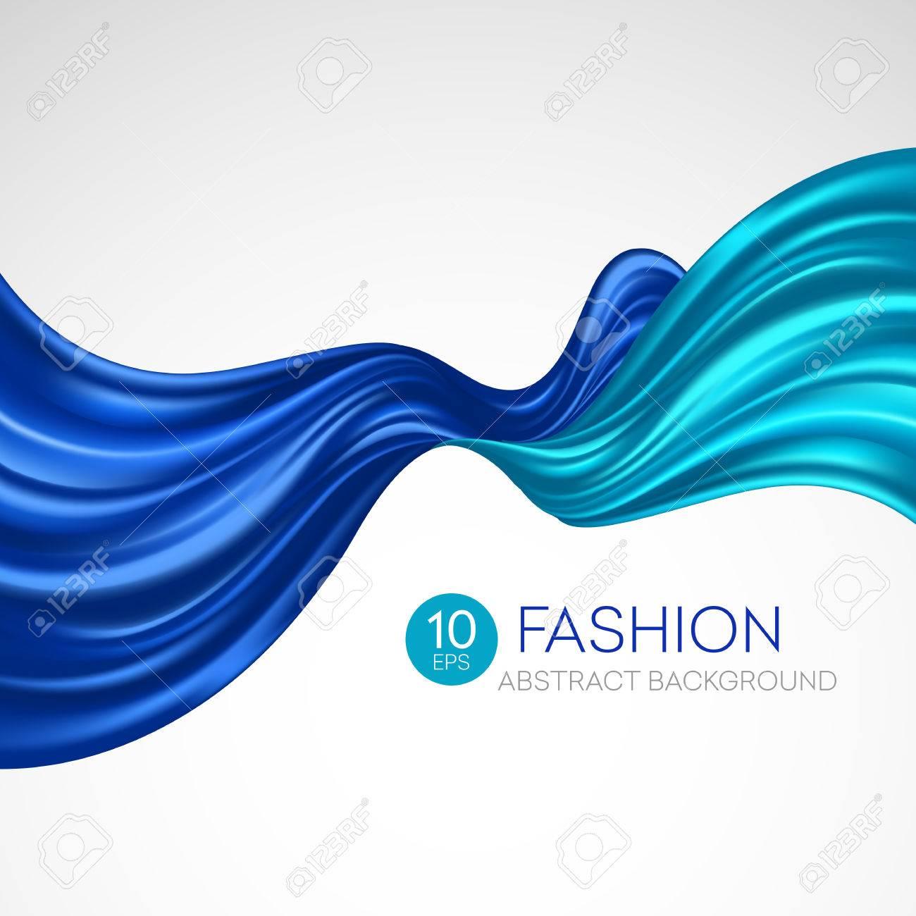 Blue flying silk fabric. Fashion background. Vector illustration EPS10 - 56522354
