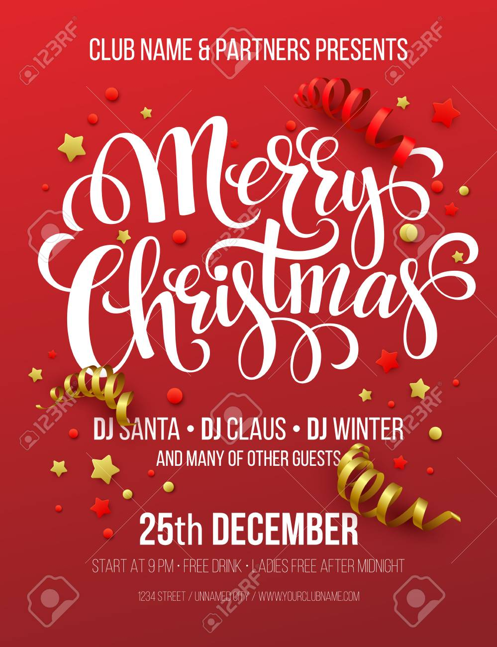 Christmas Party Poster.Merry Christmas Party Poster Vector Illustration Eps10