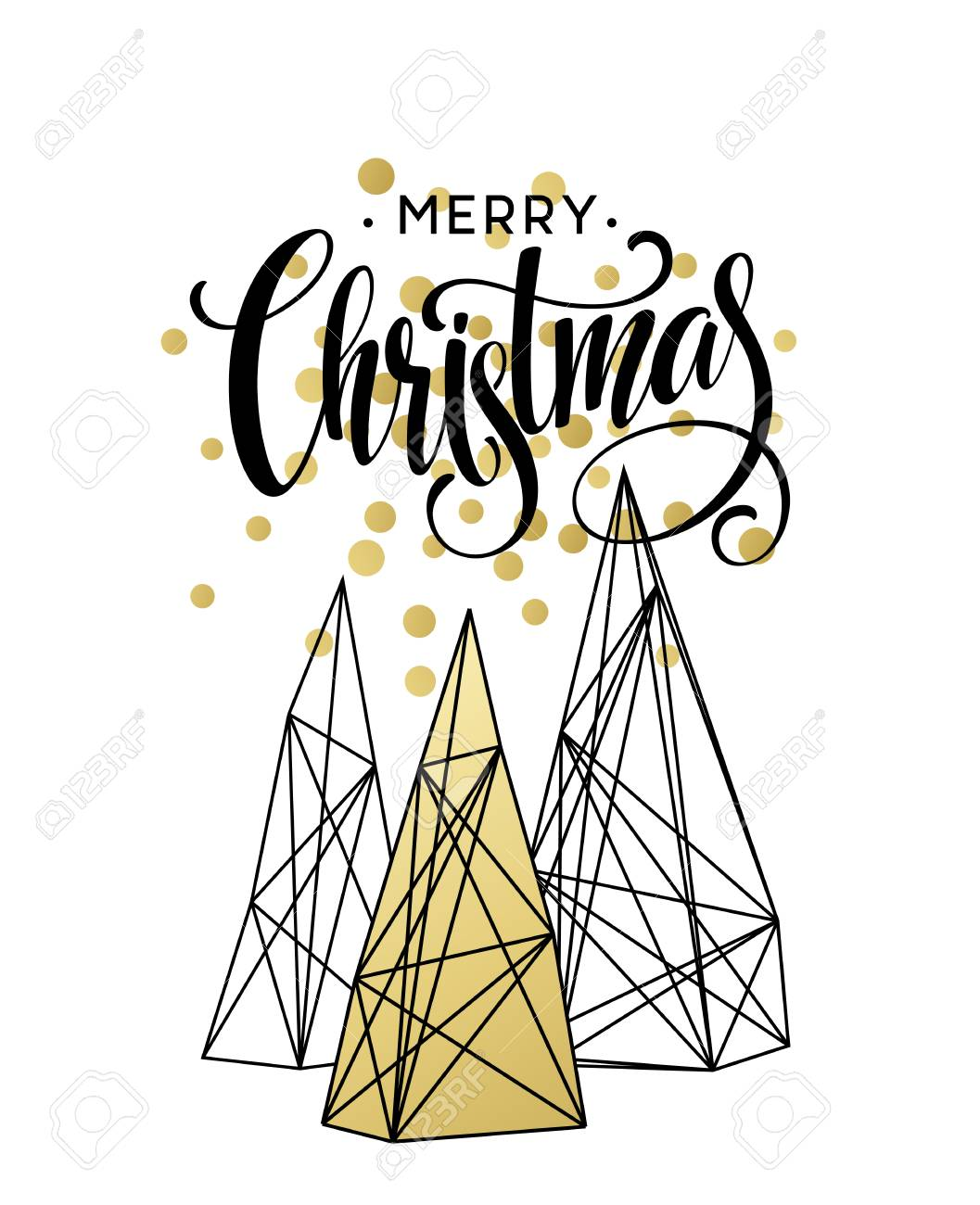 Christmas Greeting Card With Handdrawn Lettering. Golden, Black ...