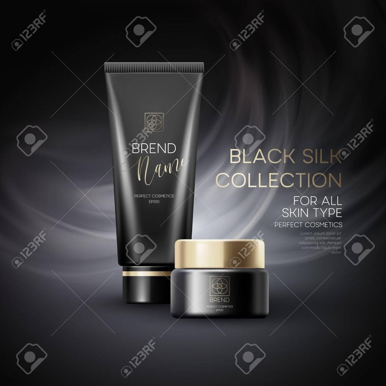 Design cosmetics product advertising on black background. Vector illustration - 69478528