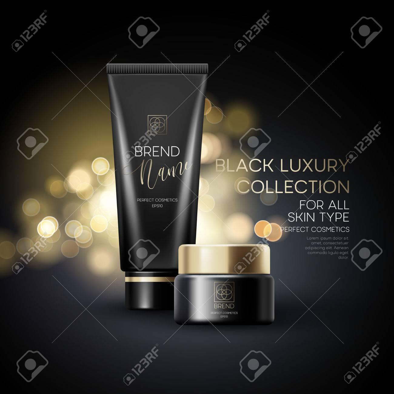 Design cosmetics product advertising on black background. Vector illustration - 69478571