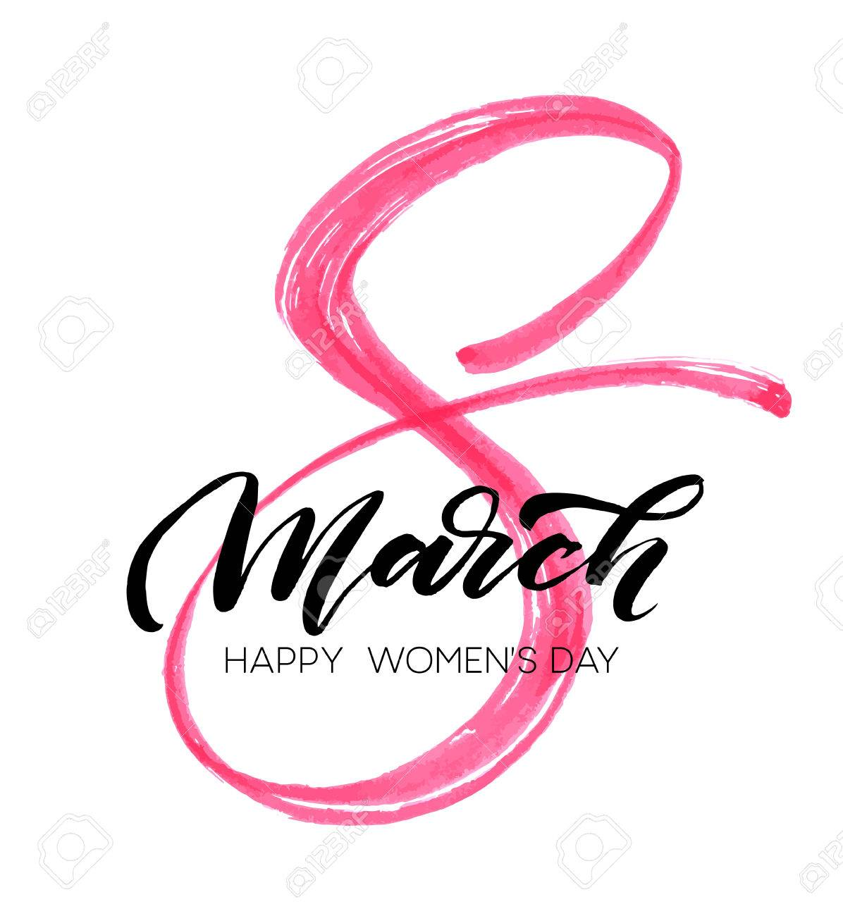 March 8 Happy womans day watercolor lettering greeting card. Vector illustration - 71234375