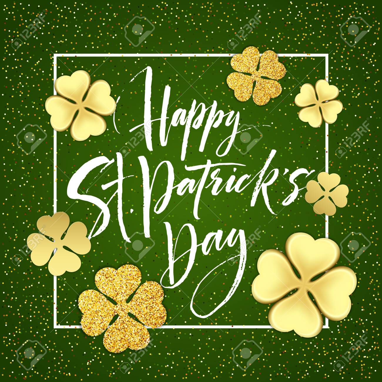 Happy saint Patricks day greeting poster with lettering text and golden glitter clover leaves. Vector illustration - 72496563
