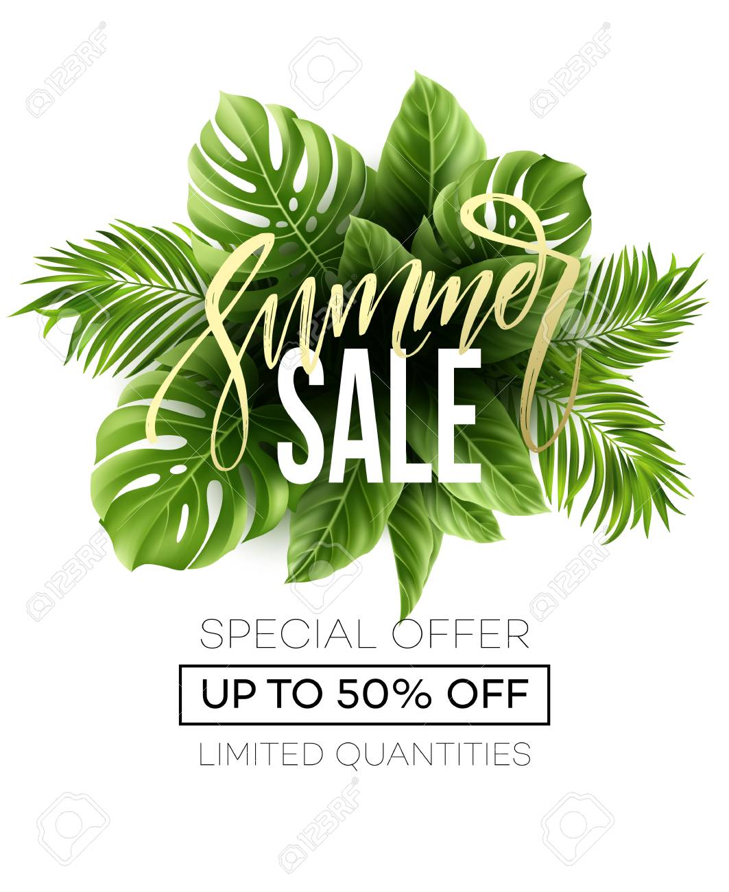 Sale banner, poster with palm leaves, jungle leaf and handwriting lettering. Floral tropical summer background. Vector illustration - 76643299